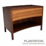 Cameron Side Table, Stained w/Zebrawood Drawers
