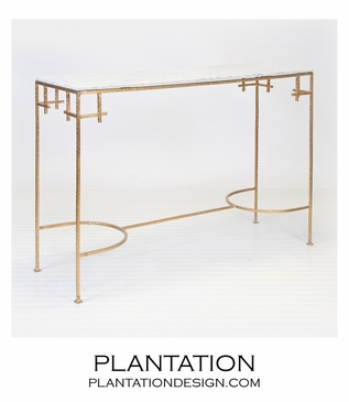 Noelle Iron Console | Gold & White Marble