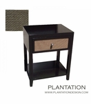 Frank 1-Drawer Side Table, Stained w/Fabric Front