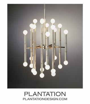Bamboo Metal Chandelier | Polished Nickel