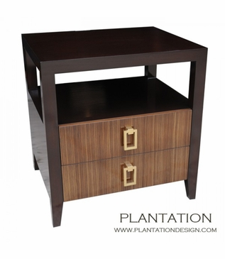 Cohen 2-Drawer Side Table, Zebrawood Fronts