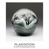 Solstice Large Glass Paperweight | Black