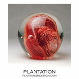 Solstice Large Glass Paperweight | Coral