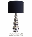 Silver Gourds Lamp | Black Shade