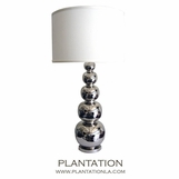 Silver Gourds Lamp | White Shade