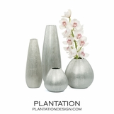 Moonrock Etched Vases | Silver