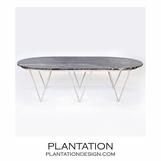 Saber Silver Coffee Table | Black Marble