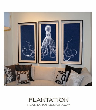 Triptych Octopus | Blue