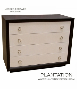 Mercer 4-Drawer Dresser, Stained w/Painted Fronts