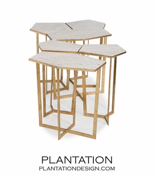 Cipher Coffee Table Set | Gold & Limestone