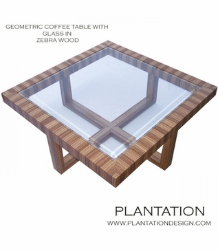 Gio Geometric Coffee Table, Zebrawood