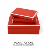 Lacquer Storage Boxes Set | Bright Red