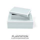 Lacquer Storage Boxes Set | Icy Blue