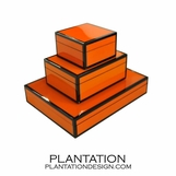 Lacquered Boxes | Orange & Black Trim
