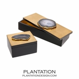 Ruiz Agate Boxes | Gold & Smoke