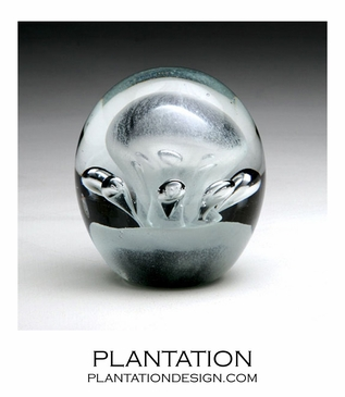 Solstice Small Glass Paperweight | White