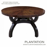 Spyder Round Dining Table, Macassar