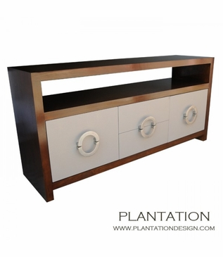 Simon 2x2 Buffet, Stained w/Fabric Fronts