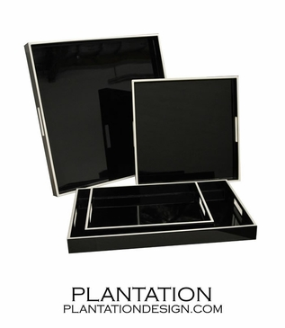 Lacquered Trays | Black & White Trim