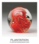 Solstice Small Glass Paperweight | Coral