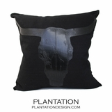 Longhorn Linen Pillows | Black