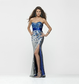 Clarisse Silver/Sapphire Long Sequin Gown 2159