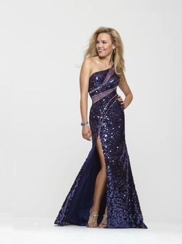 Clarisse Fitted Marine Blue Sequin Long Prom Gown 2166