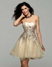 Clarisse Short Creme/Gold Strapless Gown 2032
