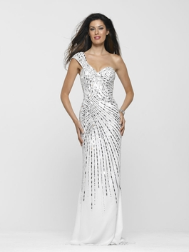 Clarisse Long White/Silver One Shoulder Gown 2103