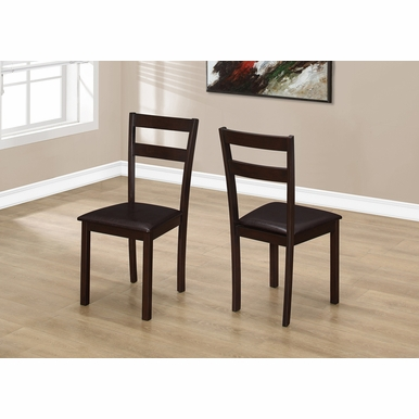 Monarch Specialties - Dining Chair 35H Cappuccino Dark Brown Seat - (Set of 2) - I-1176