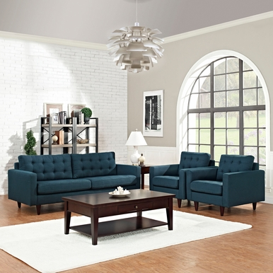 Modway - Empress Sofa and Armchairs Set of 3 in Azure - EEI-1314-AZU