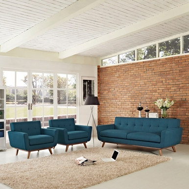 Modway - Engage Armchairs and Sofa Set of 3 in Azure - EEI-1345-AZU