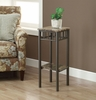 Monarch Specialties - Cappuccino Marble / Bronze Metal Plant Stand - I 3044
