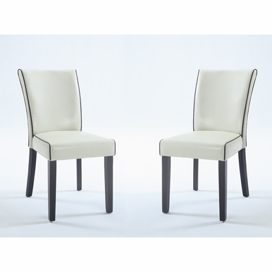 Chintaly - Michelle Bonded Leather Parsons Chair in Cream  Set of 2 - MICHELLE-PRS-SC-CRM