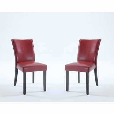 Chintaly - Michelle Bonded Leather Parsons Chair in Red  Set of 2 - MICHELLE-PRS-SC-RED