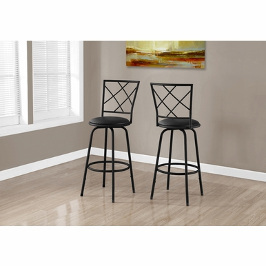 Monarch Specialties - Barstool 2 Pieces Swivel Black Black Leather Look Seat - I-2375