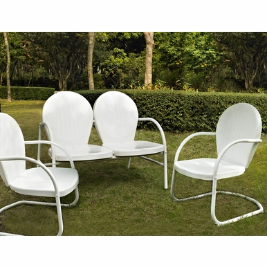 Crosley Furniture - Griffith 3 Piece Metal Outdoor Conversation Seating Set - Loveseat & 2 Chairs in White Finish - KO10002WH