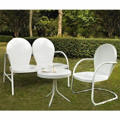Crosley Furniture - Griffith 3 Piece Metal Outdoor Conversation Seating Set - Loveseat & Chair in White Finish with Side Table in White Finish - KO10003WH