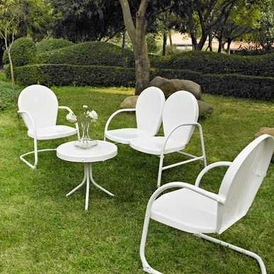 Crosley Furniture - Griffith 4 Piece Metal Outdoor Conversation Seating Set - Loveseat & 2 Chairs in White Finish with Side Table in White Finish - KO10001WH