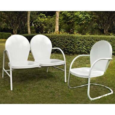 Crosley Furniture - Griffith 2 Piece Metal Outdoor Conversation Seating Set - Loveseat & Chair in White Finish - KO10005WH