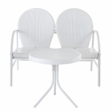 Crosley Furniture - Griffith 2 Piece Metal Outdoor Conversation Seating Set - Loveseat & Table in White Finish - KO10006WH