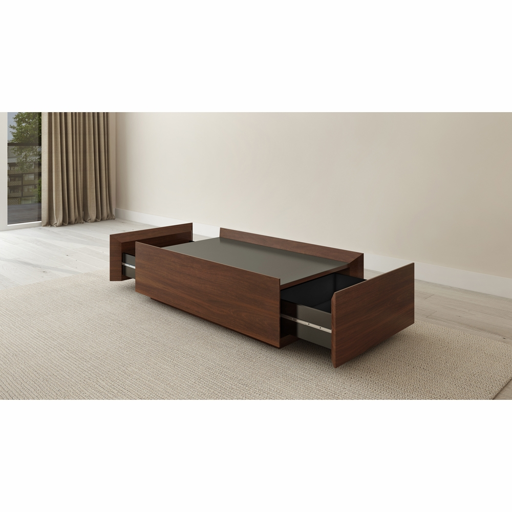 2 Drawer Contemporary Walnut Coffee Table