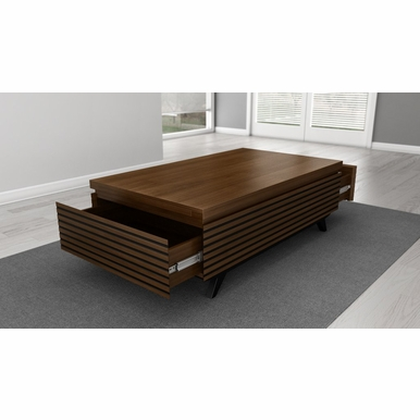 "Furnitech - 48"" Mid-Century Modern coffee table in a cognac finish over Brazilian cherry wood - TANGO-CT"