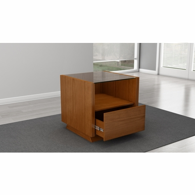 """Furnitech - 24"""" Sleek Contemporary End Table In A Light Cherry Finish - FT23CCLC"""
