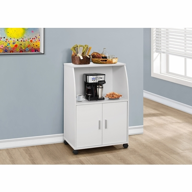 Monarch Specialties - Kitchen Cart 33H White On Castors - I-3139