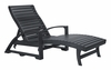 CR Plastic Products - St Tropez Chaise Lounge w/wheels in Black - L38-14
