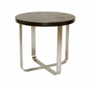 Allan Copley Designs - Artesia Round End Table with Mocca on Oak Top on Satin Nickel Base - 20901-02-MO