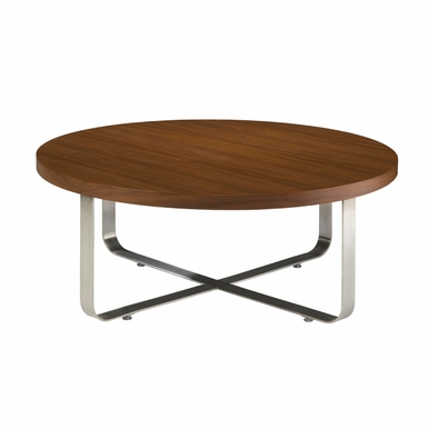 Allan Copley Designs - Artesia Round Cocktail Table with Walnut Stain Top on Satin Nickel Base - 20901-01R-W