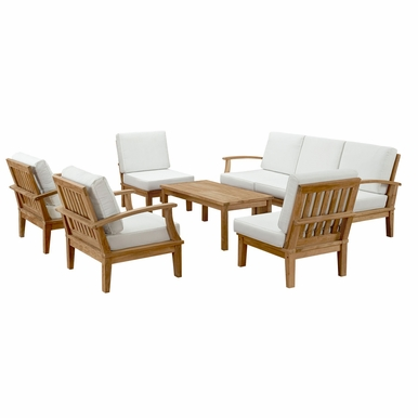 Modway - Marina 8 Piece Sofa Set in Natural White - EEI-1479-NAT-WHI-SET