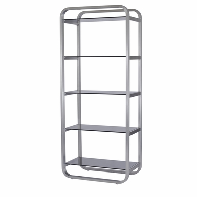 Allan Copley Designs - James 5-Shelf Bookcase with Smoke Grey Glass Shelves and Brushed Stainless Steel Frame - 21104-10